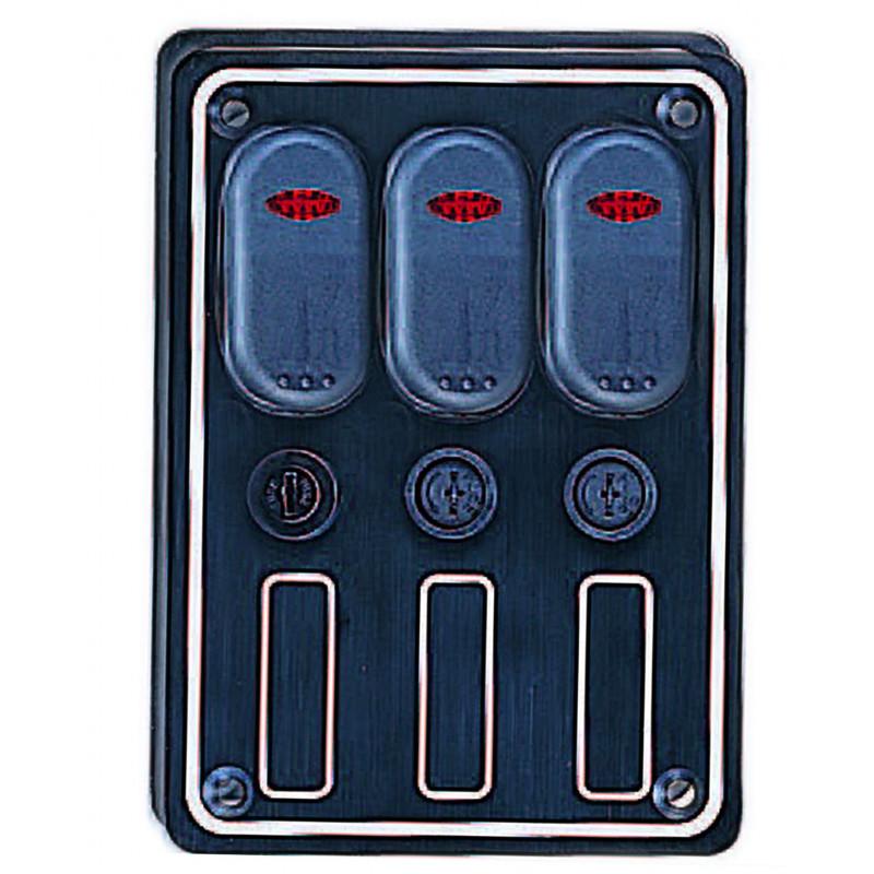 Tableau lectrique tanche 3 interrupteurs led orangemarine - Tableau electrique etanche ...