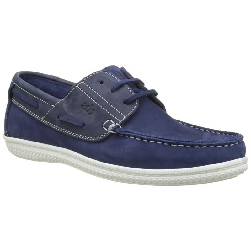 34d03d985a48c YOLLES nubuck bleu marine+outremer semelle blanche - Chaussures bateau  homme TBS