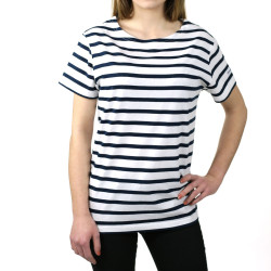 Mugel blanc/marine - Marinière femme manches courtes - ORANGEMARINE