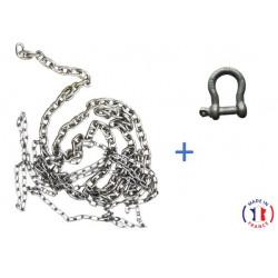 Pack 30 m chaîne galva calibré ISO4565 + manille