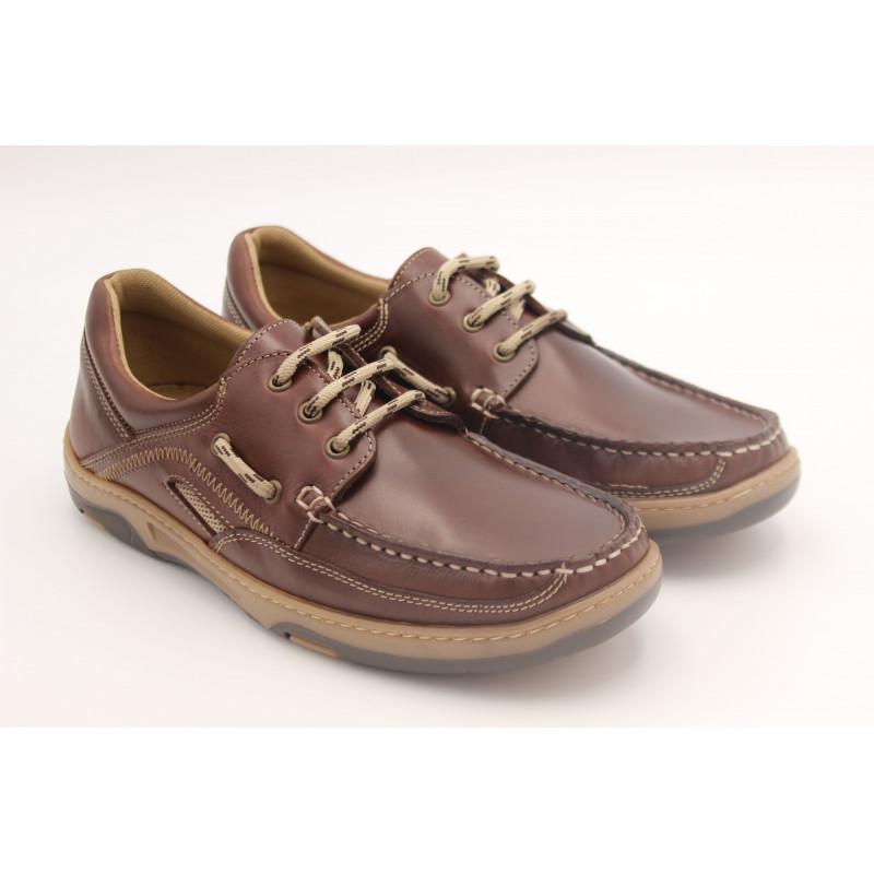 Chaussure bateau homme ORANGEMARINE Captain cuir lisse marron
