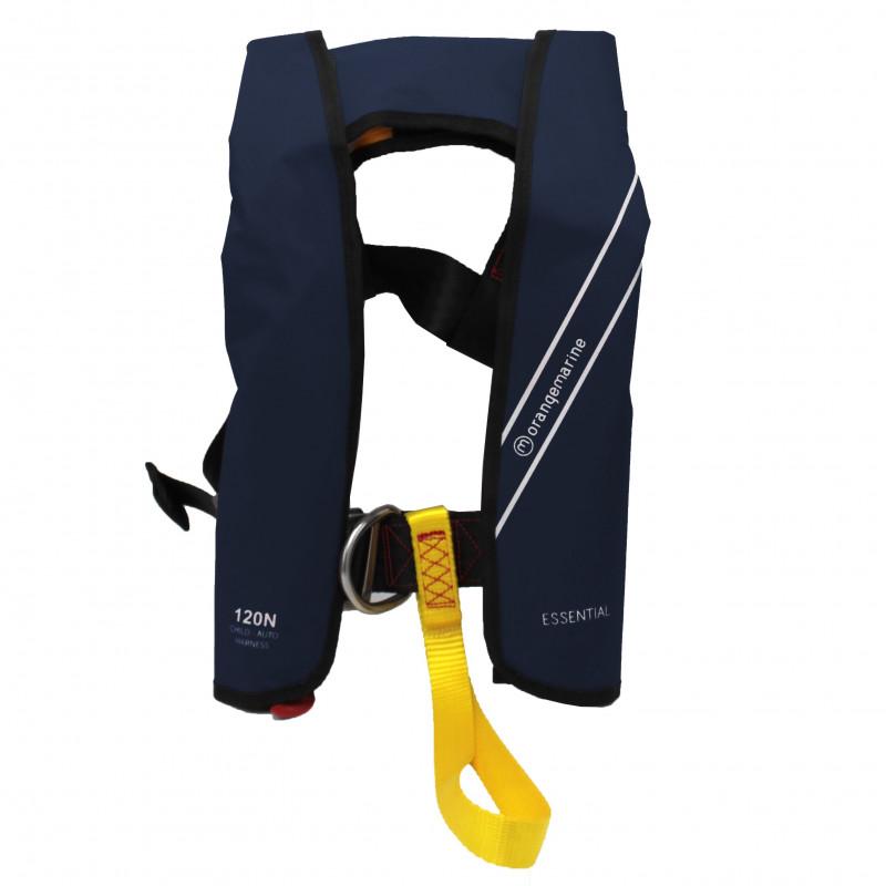 Gilet de sauvetage gonflable enfant automatique 120N avec harnais ESSENTIAL Navy - ORANGEMARINE