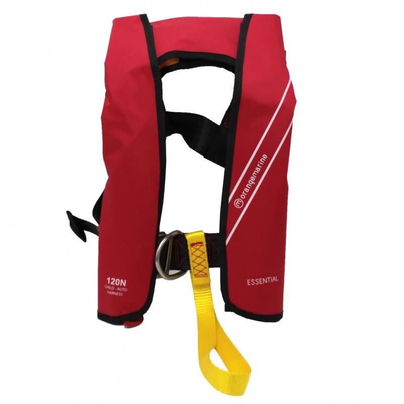 Gilet de sauvetage gonflable enfant automatique 120N avec harnais ESSENTIAL Rouge - ORANGEMARINE