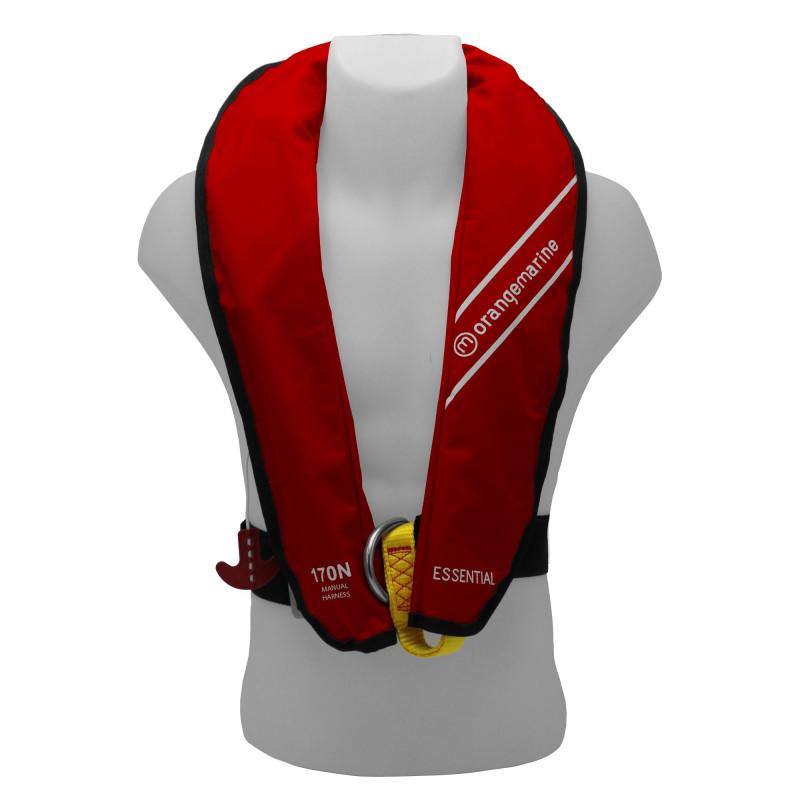 Gilet de sauvetage gonflable manuel 170N avec harnais ESSENTIAL Rouge - ORANGEMARINE