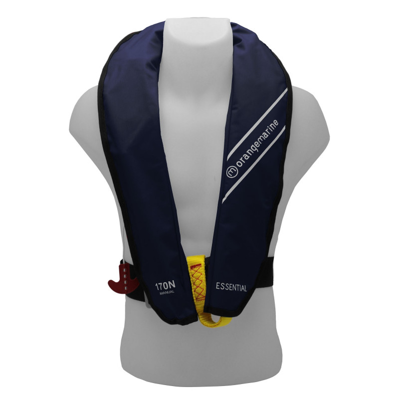 Gilet de sauvetage gonflable manuel 170N ESSENTIAL Navy - ORANGEMARINE