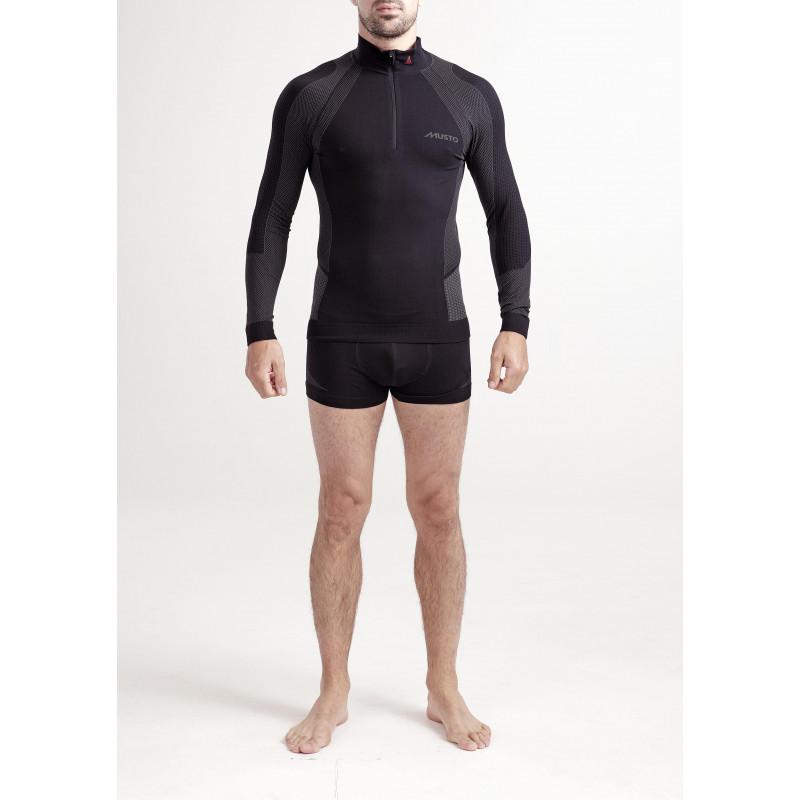 tee shirt ml thermique homme active base zip neck noir. Black Bedroom Furniture Sets. Home Design Ideas