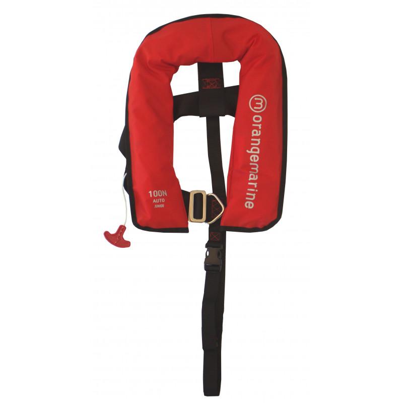 gilet gonflable enfant automatique avec harnais 100 n rouge gilet de sauveta. Black Bedroom Furniture Sets. Home Design Ideas