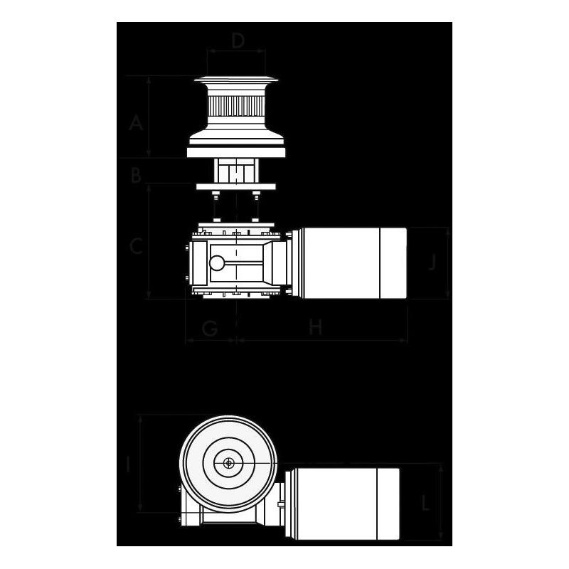 Cabestan T1700 12V 1700W en aluminium - LOFRANS'